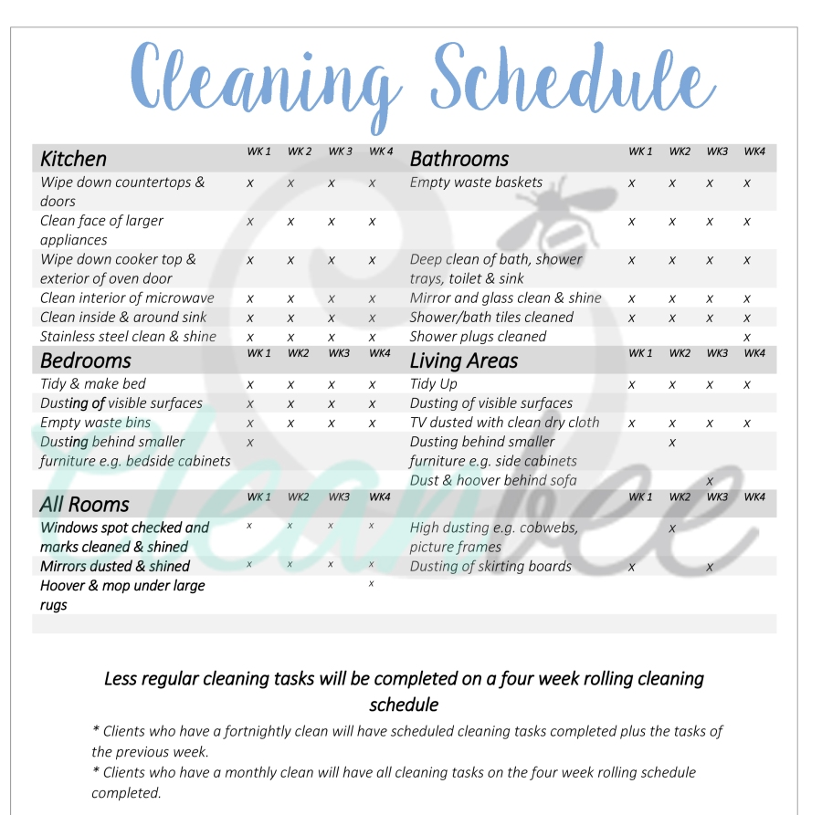 Your Cleaning Schedule